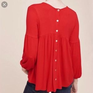 Anthropologie Eri + Ari Red Top with Back Buttons